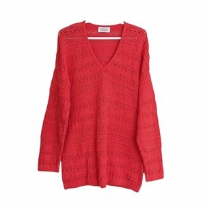 Benetton vintage oversized v neck cotton sweater red size Small